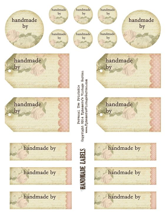 Ephemera's Vintage Garden: Free Printable - 'Handmade By' Tags and Labels: