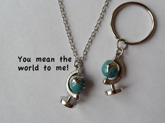 World Globe Keychain or Necklace Couples Key Rings Best Friends – Map World Globe Keyrings