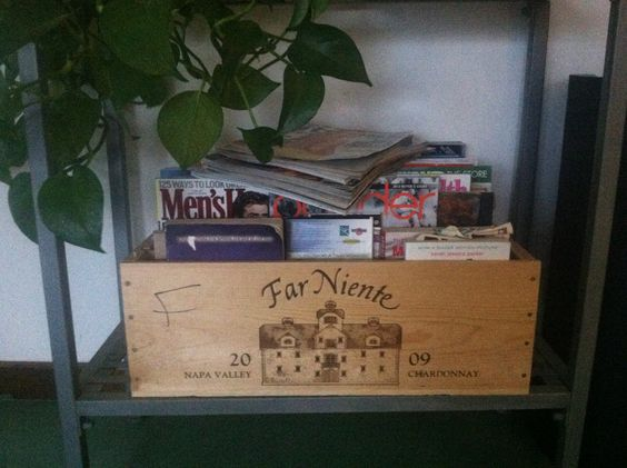 Reuse wooden wine boxes for magazines