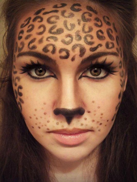 klasse fasching make up idee leoparden schminke noch mehr ideen gibt es auf. Black Bedroom Furniture Sets. Home Design Ideas