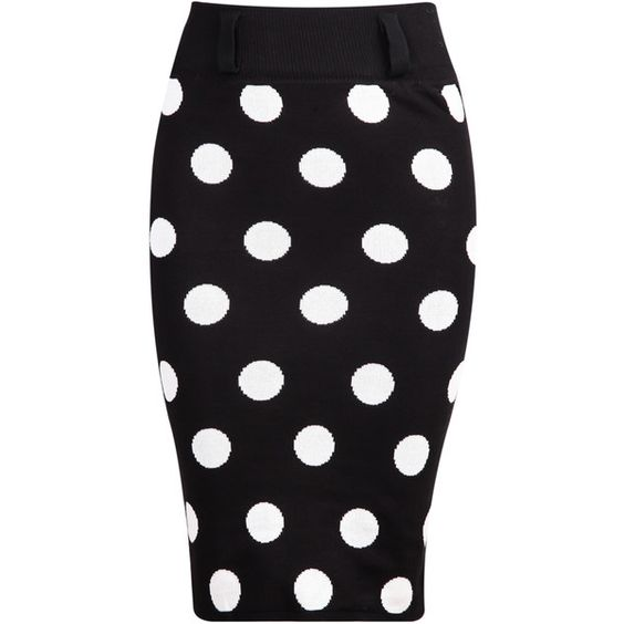 SheIn(sheinside) Black Polka Dot Bodycon Knit Skirt (18 CAD) ❤ liked on Polyvore featuring skirts, sheinside, black, body con skirt, dot skirt, bodycon skirt, short black skirt and black polka dot skirt