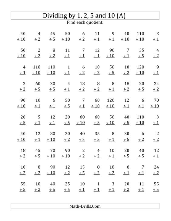 New 20121217 Division Worksheet Dividing by 1 2 5 and 10 – Division by 2 Worksheets