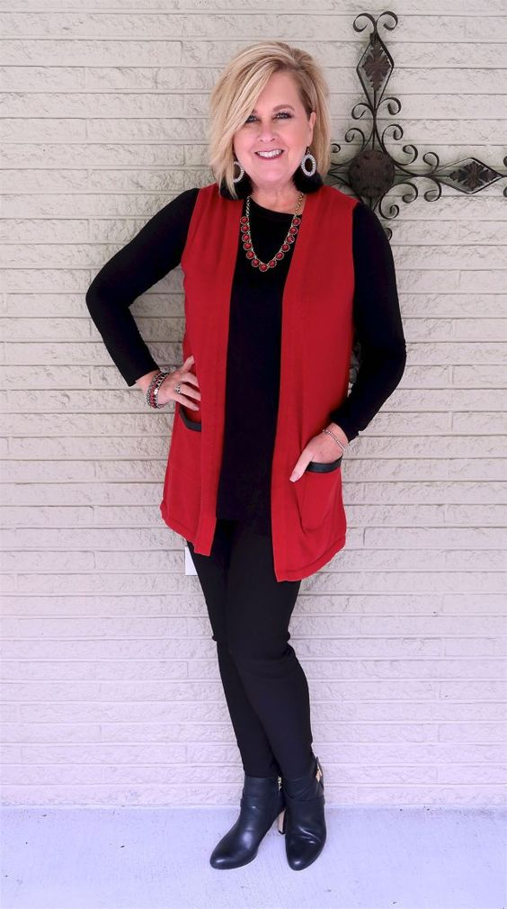 50 IS NOT OLD   HOW TO ROCK BLACK ON BLACK   FASHION OVER 40   Slimming   Red and Black   Ankle Boots   Fashion over 40 for the everyday woman