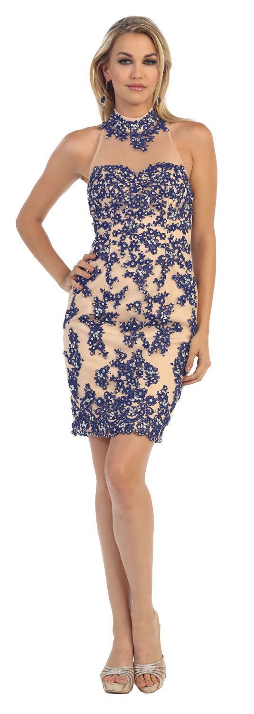 Short Open Back Cocktail Halter Lace Evening Dress