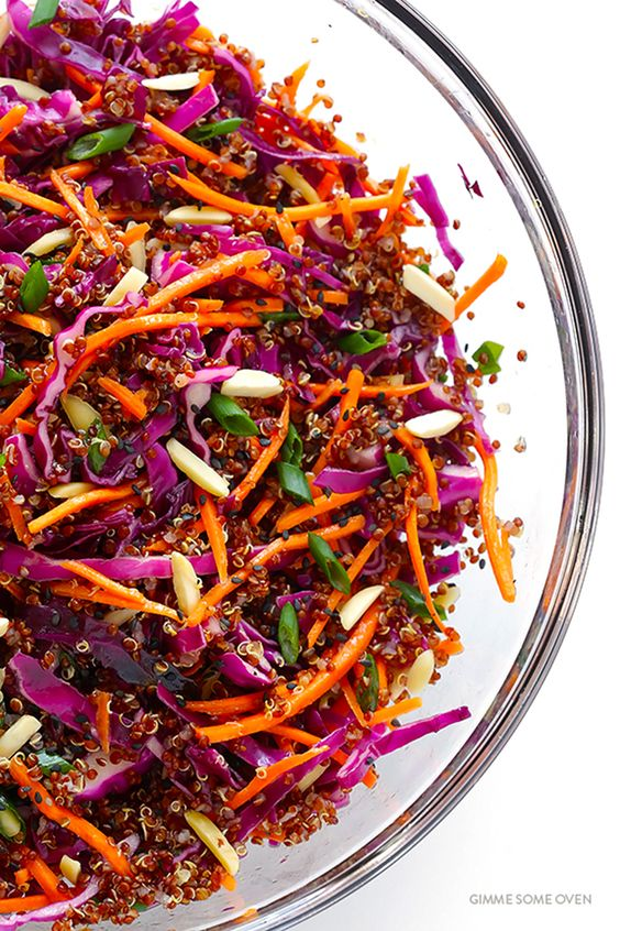 Asian Quinoa Slaw from Gimme Some Oven | Fiber-rich red cabbage, heart ...