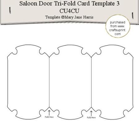 saloon door tri fold card template 3 cu4cu on craftsuprint designed by mary jane harris this. Black Bedroom Furniture Sets. Home Design Ideas