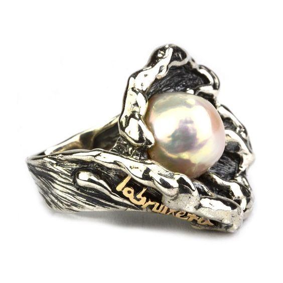 Anillo de plata, perla y oro Labruixeta