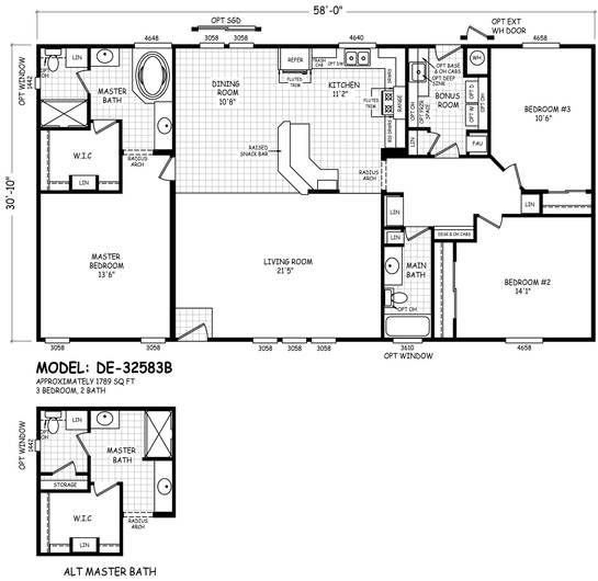 Floor Plan De 28723a Desert Edge Homes By Cavco West Cavco Manufactured Home Floor Plans A Floor Plans House Floor Plans Manufactured Homes Floor Plans