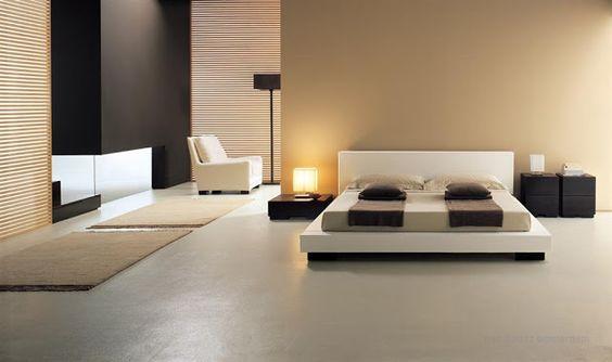 decoracion minimalista en dormitorio crema con tonos