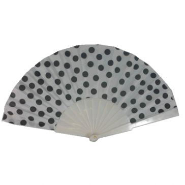 Black Dots on White Nylon Hand Fan. Price: $1.29 available at www.jadetime.com