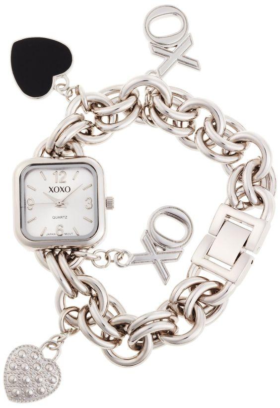 XOXO Womens XO7026 Silver Dial Silver,tone Charm Bracelet Watch Price $19.99