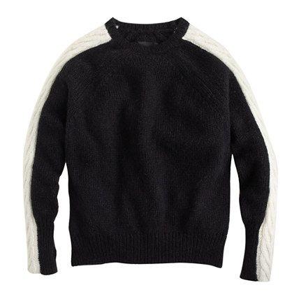 Nili Lotan® raglan cable-sleeve sweater : Pullovers | J.Crew