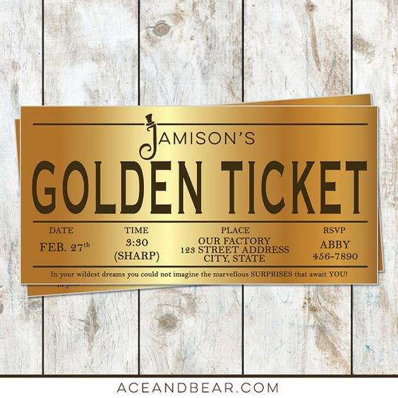 Willy Wonka Golden Ticket Birthday Invitation  Willy by rocketliv