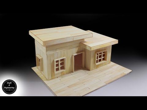 How To Make A Modern Popsicle Sticks House Youtube Popsicle Stick Houses Popsicle Stick Crafts House Popsicle House