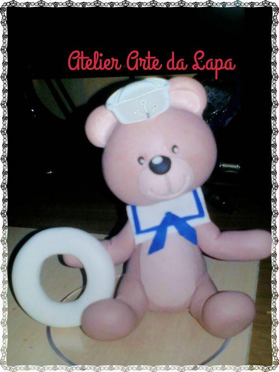 TOPO de bolo chá de bebê tema Urso Marinheiro. #Biscuit #AtelierArteDaLapa