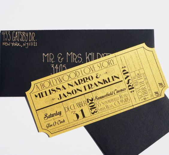 Wedding. Make Your Own Art Deco Old Hollywood Gold Movie Ticket Wedding Invitation Sample Ideas.