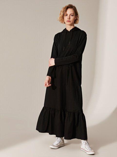 Kapusonlu Uzun Pamuklu Elbise 2020 Elbise Uzun Elbise Elbise Modelleri