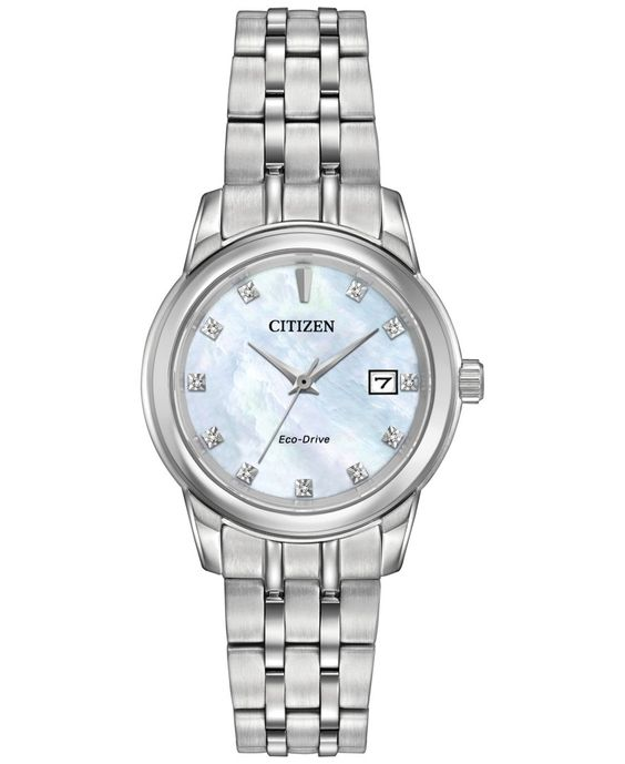 Citizen Women's Eco-Drive Diamond Accent Stainless Steel Bracelet Watch 28mm EW2390-50D