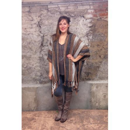 Gifts :: For Her :: Chenille Kimono: Taupe and White Striped Ultra Soft Poncho