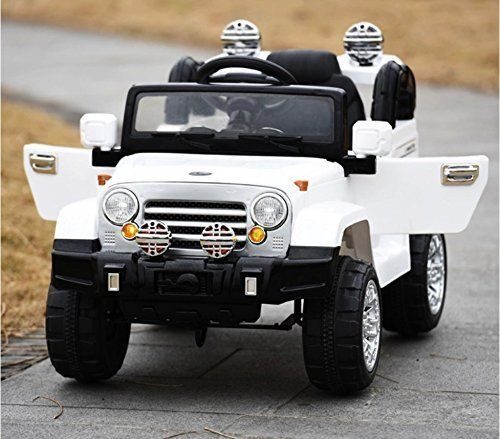 exclusive ride on car 12v jeep wrangler style toy for kids boys and girls with opening doors music lights and remote control white pinterest kids