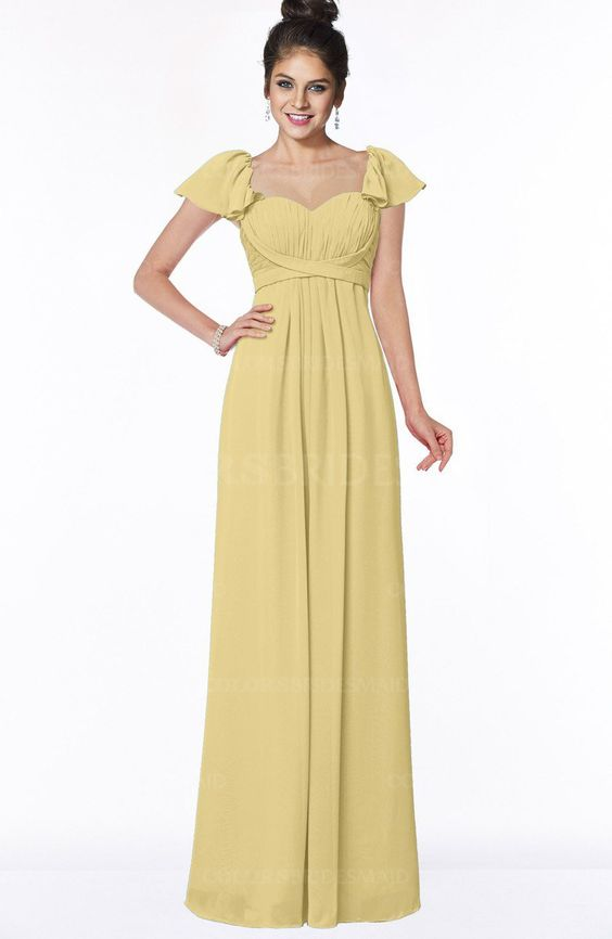 New Wheat Modern A-line Wide Square Short Sleeve Zip up Pleated Bridesmaid Dresses