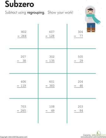 math worksheet : subzero three digit subtraction with regrouping  worksheets  : Regrouping Subtraction Worksheets 3rd Grade