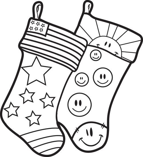 Free Printable Christmas Coloring Page For Kids Of Two Stockings We Have Tons Free Christmas Coloring Pages Printable Christmas Stocking Monkey Coloring Pages