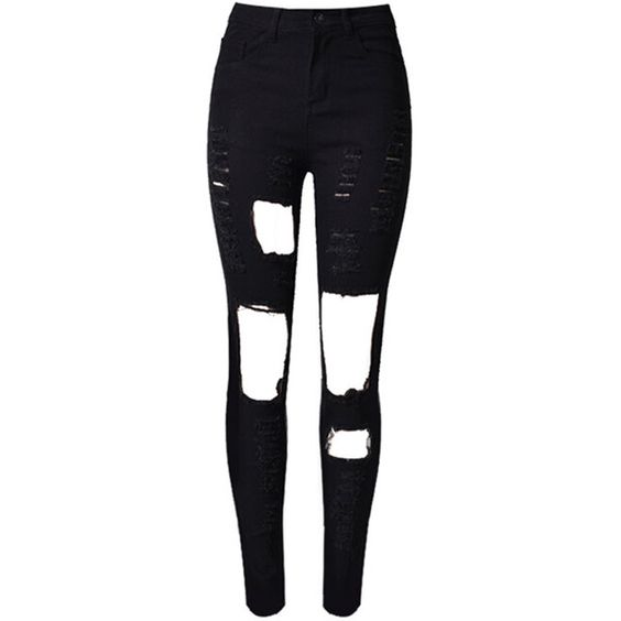 Choies Black Cut Out Rips Detail Skinny Jeans ($30) ❤ liked on