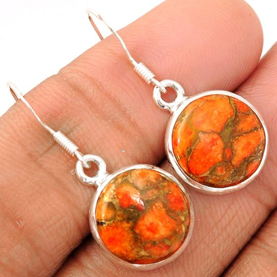 Copper Orange Arizona Turquoise 925 Sterling Silver Earrings Jewelry RCTE320 - JJDesignerJewelry