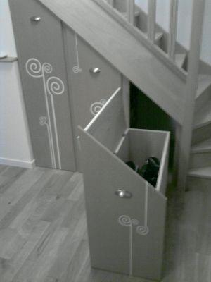 Des rangement sur roulettes - Le coffre: roller, sac, parapluie... - Vous avez aménagé le dessous de votre escalier: