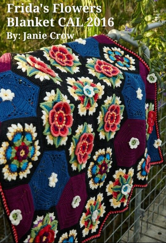 FRIDA'S FLOWERS BLANKET CAL (crochet along) 2016 BY JANIE CROW ( Free Pattern is on Stylecraft Yarn Website *under CALs):