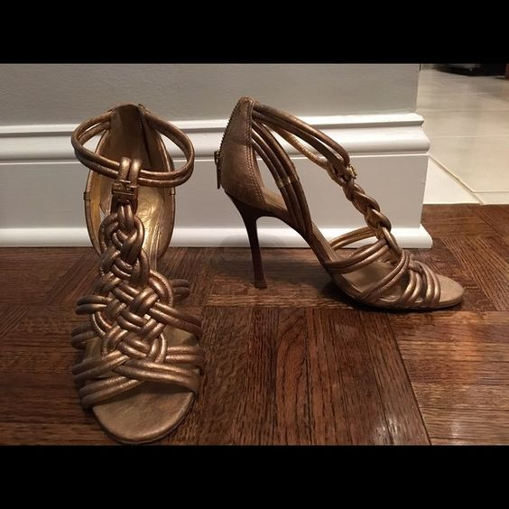 Tory Burch Stiletto Dress Sandal, gold size 6 Gold, leather, gently worn Tory Burch Shoes Heels