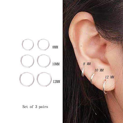 3 Pairs Sterling Silver Small Endless Hoop Earrings Set Unisex Cartilage Earrings Nose Lip Rings Hoop Earrings Small Hoop Earring Sets Cartilage Earrings Hoop