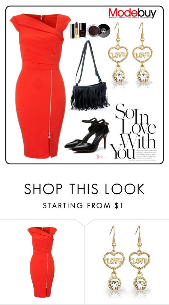 """""""Red Pleated Shift Bodycon Dresses"""" by modebuy ❤ liked on Polyvore featuring Chanel and modebuy"""