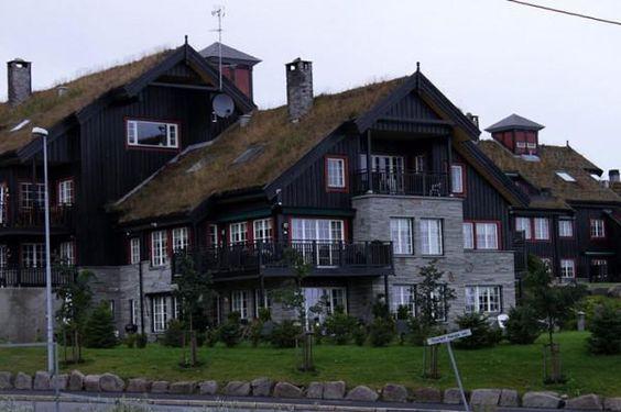 Die Grass-Dächer von Norwegen