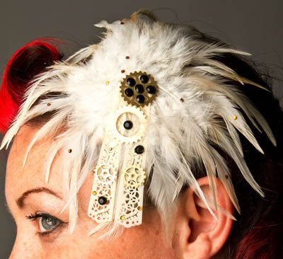 Natural white Feathered Fascinator  steampunk by RedsRibbons, £45.00