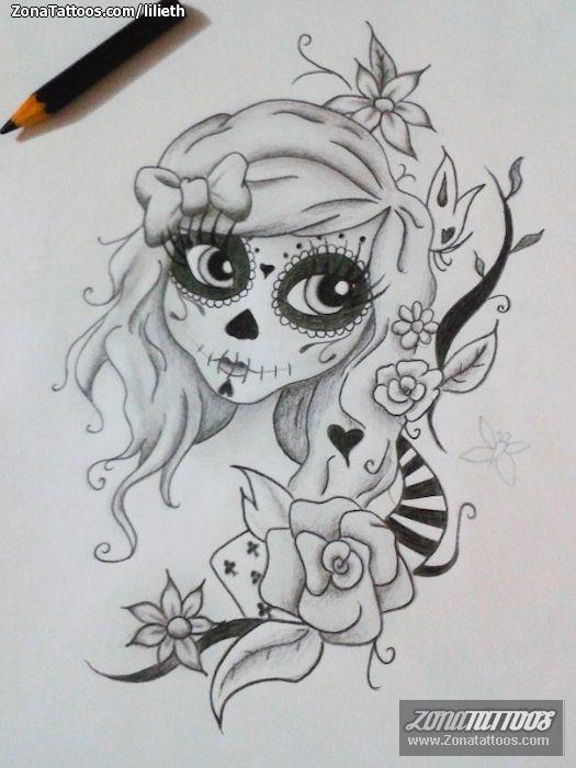 Tatuajes Catrinas, Catrinas Dibujos, Diseño Tatuajes, Ideas De Tatuajes, Catrinas Caricatura, Franelas Decoradas, Catrina Arte, Catrina Tatuaje, Tatoo