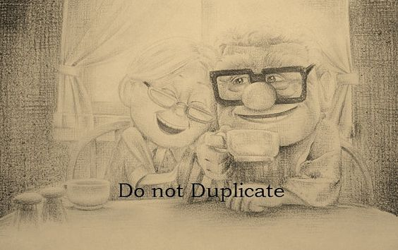 Carl and Ellie from Disney's Pixar's UP 11 x by CharlieDonkinArt