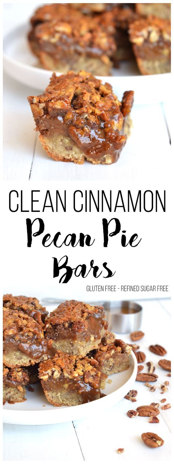 Looking for a healthy dessert for fall? This Clean Cinnamon Pecan Pie Bar recipe is Gluten Free and Refined Sugar Free - perfect for a fall treat!