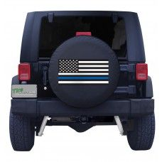 Back the Blue Thin Blue Line American Flag Spare Tire Cover