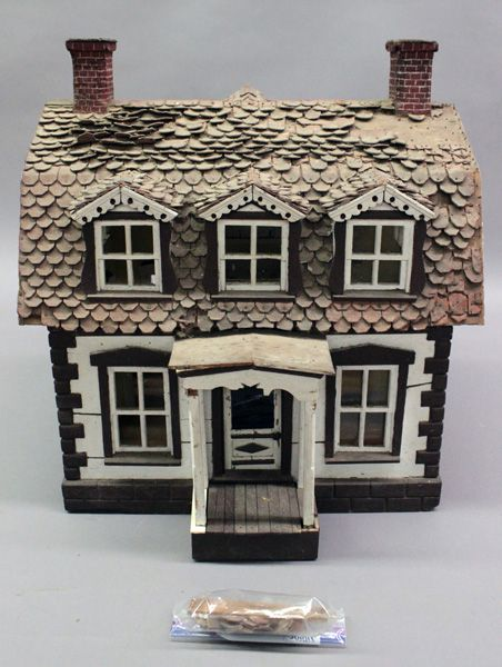 """Large vintage wooden doll house: 23""""T X 21""""W X 13 ¼""""D, some loss @roof shingles,..."""