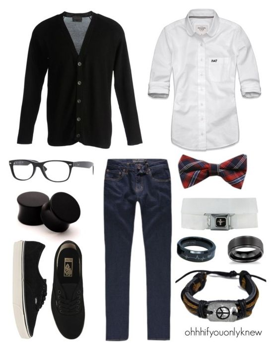 """""""Untitled #89"""" by ohhhifyouonlyknew ❤ liked on Polyvore featuring Diesel Black Gold, Abercrombie & Fitch, RSQ, Ray-Ban, Vans, Blue Nile, bow tie, lgbt, vans and my creations"""