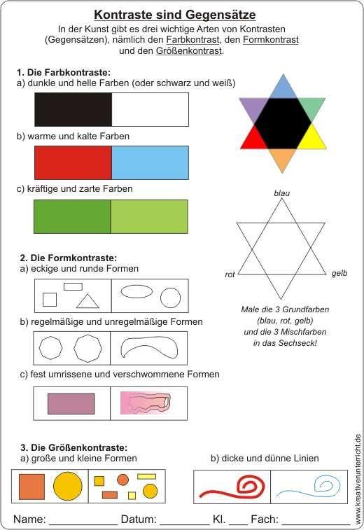 Farbenlehre Kontraste Sind Gegensatze Arbeitsblatt Mit Losung Farben Lehre Farbenlehre Kunst Unterrichten
