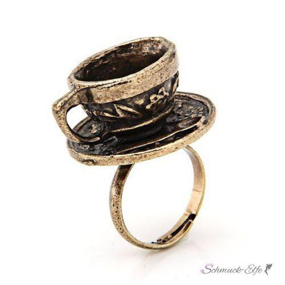 Ring Kaffee Tasse antik gold