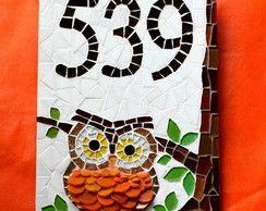 Número para Casa em mosaico Coruja