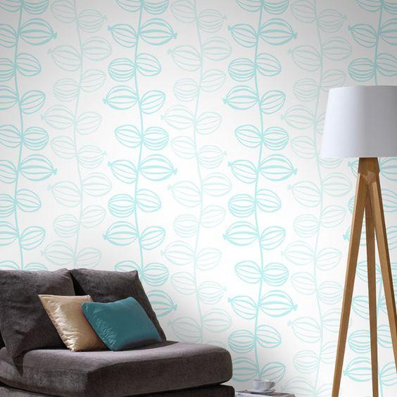 Papier peint fleur coco bleue castorama salon pinterest for Papier peint castorama salon