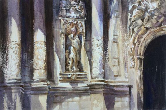 """""""Church Facade, Valencia"""" watercolour by Trevor Waugh"""