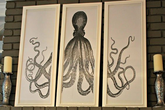 What has 8 arms and 3 frames? An Octopus Triptych. um, and what exactly is an Octopus Triptych you ask? Take a look at this arm eye candy…  Pictured here in Giuliana DePandi and Bill Rancic's home source This Octopus print actually has a long history- the original is a copperplate engraving by Lord Bodner …
