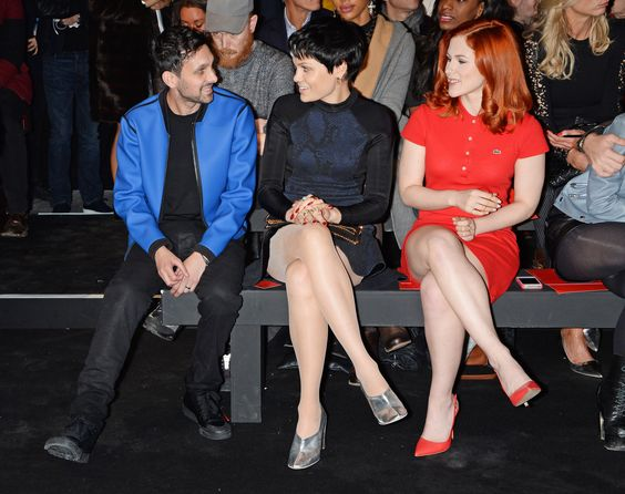 Dynamo, Jessie J and Katy B take their seats on the front row of the first ever Hunter Original London Fashion Week show.