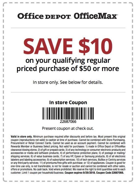 Office Depot Office Max Coupon 10 Off 50 Office Depot Store